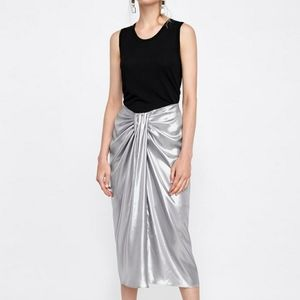 Zara Metallic Effect Draped Skirt